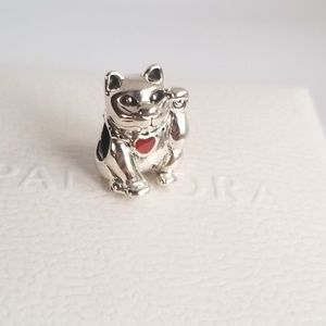 PANDORA Charm Lucky Cat Pink Enamel Silver NWT